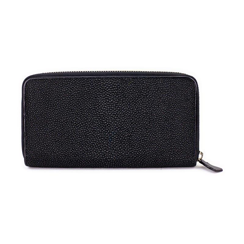 551ebe3df3ba Женское портмоне из кожи ската чёрного цвета, кожа ската, чёрный ...